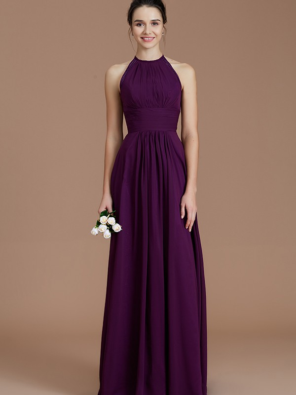 fc5674d1cfc2 ... A-Line Halter Sleeveless With Ruched Floor-Length Chiffon Bridesmaid  Dresses ...