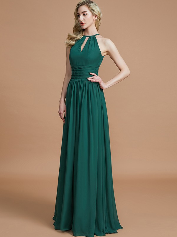 22d3b5e6b07d ... A-Line Chiffon Scoop Sleeveless Floor-Length Bridesmaid Dresses ...