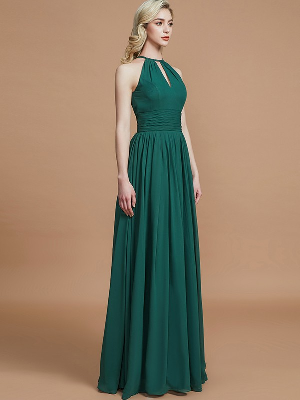 c6dbcf913b27 ... A-Line Chiffon Scoop Sleeveless Floor-Length Bridesmaid Dresses ...