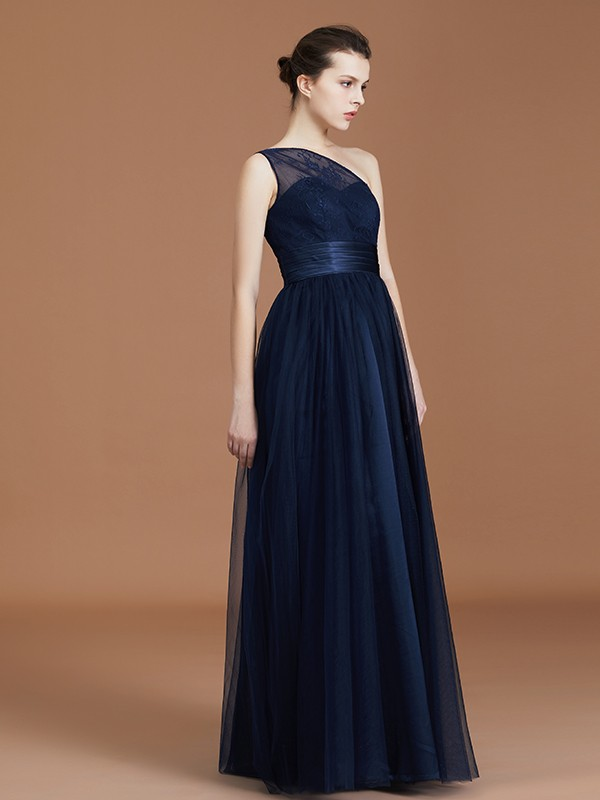02dba5648f19 ... Beautiful A-Line One-Shoulder Lace Tulle Sleeveless Floor-Length  Bridesmaid Dress ...