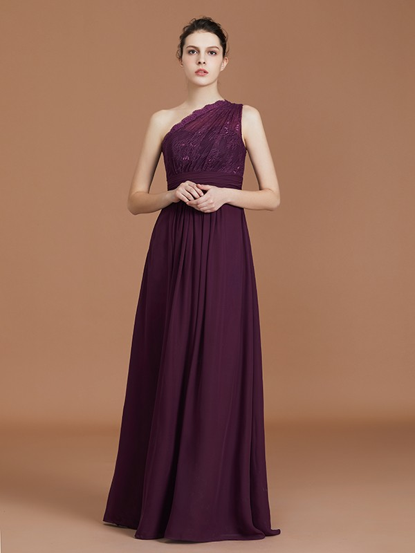 843d9098e91e ... Stunning A-Line One-Shoulder Lace Chiffon Sleeveless Floor-Length  Bridesmaid Dress ...